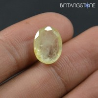 Certified Earth Mined Yellow Sapphire 6.00 Cts Natural Corrundum Ceylon Sri Lanka Bersertifikat