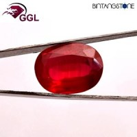 Certified GGL Red Ruby 11.00 Ct Natural Africa Batu Merah Delima Asli Sertifikat Body Glass Clarity VVS IF