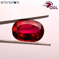 Certified GGL Red Ruby 15.00 Ct Natural Africa Batu Merah Delima Asli Sertifikat Body Glass Clarity VVS IF