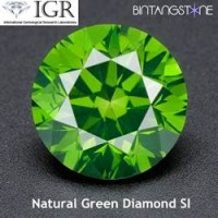 Diamond Green Diamond 1.5 mm 0.015 Cts Certified Natural Africa Berlian Hijau Asli Sertifikat IGR ID1219