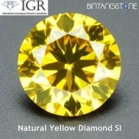 Diamond Yellow Diamond 1.6 mm 0.02 Cts Certified Natural Africa Berlian Kuning Asli Sertifikat IGR ID1220