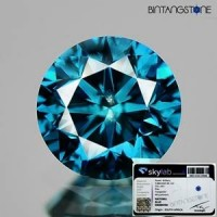 Diamond Certified Blue Diamond 0.81 Cts Diameter 5.6 mm Natural Berlian Biru Asli Africa Memo Origin SKYLab Clarity Si