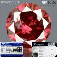 Diamond Certified IGR Red Purplish Pink Diamond 0.22 Cts Diameter 3.7 mm Natural Berlian Merah Pink Asli Africa Sertifikat Memo SKY Lab Indonesia