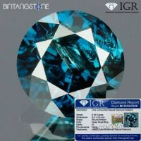 Diamond Certified IGR Blue Diamond 0.39 Cts Diameter 4.5 mm Clarity I Natural Berlian Biru Asli Africa Memo Sertifikat IGR