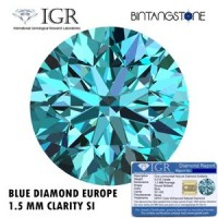 Diamond Blue Diamond Europe 1.5 mm Clarity SI1-SI2 Certified By IGR Natural Eropa Arica Berlian Biru Aslli Sertifikat Memo