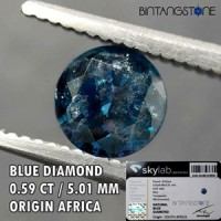 Diamond Blue Diamond Africa 0.59 Cts I Clarity Diameter 5.01 Mm Certified  Natural Berlian Biru Asli Sertifikat Memo SKYLAB Indonesia