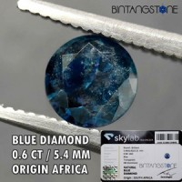Diamond Blue Diamond Africa 0.60 Cts I Clarity Diameter 5.44 Mm Certified  Natural Berlian Biru Asli Sertifikat Memo SKYLAB Indonesia