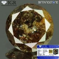 Diamond Brown Diamond 0.84 Cts Clarity I Diameter 6.4 Mm IGR Certified  Natural Berlian Coklat Asli Sertifikat Memo