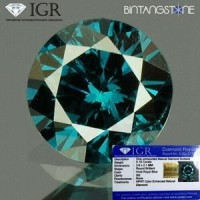 Diamond Blue Diamond Eropa 0.18 Cts Clarity SI Diameter 3.6 Mm IGR Certified  Natural Berlian Biru Asli Sertifikat Memo