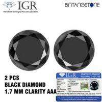 Diamond Black Diamond 2 Pcs Diameter 1.7 Mm Certified IGR Natural Africa Berlian Hitam Asli Sertifikat Memo
