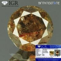 Diamond Brown Diamond 1.00 Cts Clarity I Diameter 6.2 Mm IGR Certified  Natural Berlian Coklat Asli Sertifikat Memo