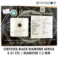 Diamond Black Diamond 2.41 Cts Diameter 7.6 Mm Certified IGEC Natural Africa Berlian Hitam Asli Sertifikat Memo