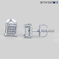 Anting Diamond 14KT White Gold Finish 0.07 CT Natural Berlian Asli Eropa Stud Earrings