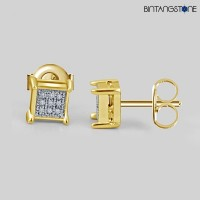 Anting Diamond 14KT Yellow Gold Finish 0.07 CT Anting Natural Berlian Asli Eropa Stud Earrings