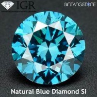 Diamond Blue Diamond 2.1 mm Clarity SI Certified By IGR Natural Africa Berlian Biru Aslli Sertifikat ID1166