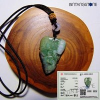 Certified Jade Jadeite Oily Translucent Green Natural Dragon Pi Xiu Ruyi Pendant Kalung Giok Fei Cui Asli Burma Myanmar Type A Liontin Ukir Shio Naga Sertifikat China Terapi Kesehatan Healing Crystal