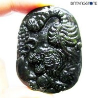 Pendant Hetian Black Jade Natural Liontin Giok China Hand Carved Pendant Tiger 820