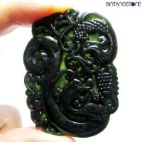 Pendant Hetian Black Jade Natural Liontin Giok China Hand Carved Pendant Dragon 822