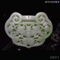 Pendant Kunlun Jade China Natural Hand Carved Bat Liontin Giok Mani Gajah 831