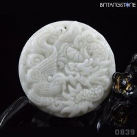 Pendant Kunlun Jade China Natural Dragon Phoenix Hand Carved Liontin Giok Mani Gajah 839