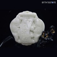 Pendant Kunlun Jade China Natural Hand Carved Lucky Fish Liontin Giok Mani Gajah 857