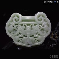 Pendant Kunlun Jade China Natural Hand Carved Bat Liontin Giok Mani Gajah 865