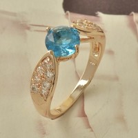 Cincin Import Lab Blue Sapphire 9K Rose Gold Filled Ring Size 9