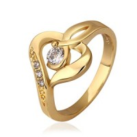 Cincin Wanita Import Heart Shaped 18K Gold Filled Woman Charm Ring Size 7