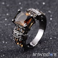 Cincin Pria Import Tanzanite 18K Black Gold Filled Man Ring Size 8