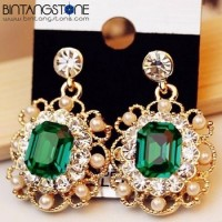 Anting 9K Yellow Gold Filled AAA Emerald CZ Crystal Earrings Drop