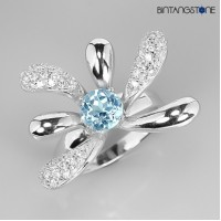 Cincin Wanita Import 34Ct Natural Blue TOPAZ 925 Sterling Silver White Gold Plate Ring 9