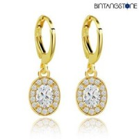 Anting Import Real 18K Gold Plated White Zircon Gemstone Drop Earrings Women #751