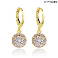 Anting Import Real 18K Gold Plated White Zircon Gemstone Drop Earrings Women #753