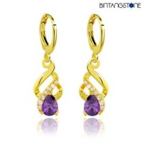 Anting Import Real 18K Gold Plated Amethyst Purple Zircon Women Lady Drop Earrings #755