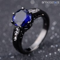 Cincin Unisex Import Blue Sapphire 10K Black Gold Filled Mans Ring Size 7