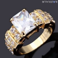 Cincin Import White Sapphire 18K Gold Filled Mans / Woman Ring Size 6-7