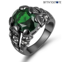 Cincin Pria Import Emerald 18K Black Gold Filled Mans Claw Ring Size 8