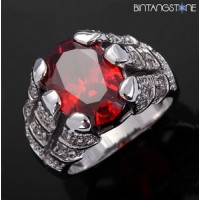 Cincin Pria Import Red Ruby 18K White Gold Filled Mans Claw Ring Size 9
