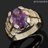 Cincin Pria Import Amethyst 18K Yellow Gold Filled Mans Claw Ring Size 8