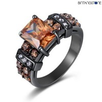 Cincin Pria Import Champagne Topaz 18K Black Gold Filled Mans Ring Size 6-8