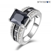 Cincin Import Black Onyx 18K White Gold Filled Mans Ring Size 8