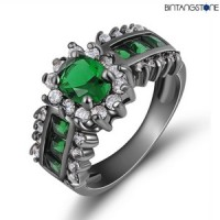 Cincin Import Emerald 18KT Black Gold Filled Mans-Womans Ring Size 6-7-8