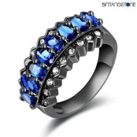 Cincin Import Brazil Blue Topaz 10KT Black Gold Filled Mans-Womans Ring Size 7