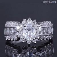 Cincin Crown Unisex Import White Sapphire 18K White Gold Filled Mans Womans Ring Size 7 Cincin Mahkota Bisa Dipakai Pria Ataupun Wanita