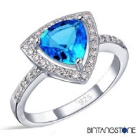Cincin Wanita Import Real 925 Sterling Silver Blue Topaz Zircon Triangle Womens Ring 604