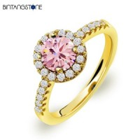 Cincin Wanita Import Real 18K Gold Plated Charming Pink Round Cubic Zircon Woman Ring 617