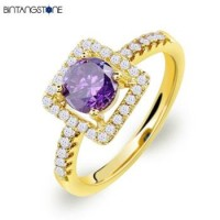 Cincin Wanita Import Real 18K Gold Plated Beautiful Square Design Purple Zircon Woman Ring 622