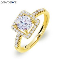 Cincin Wanita Size 7 Import Real 18K Gold Plated Beautiful Square Design Clear Zircon Woman Ring 623