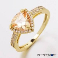Cincin Wanita Import Real 18K Gold Plated Beautiful Triangle Design Champagne Zircon Woman Ring 627