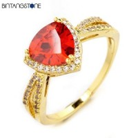 Cincin Wanita Import Size 7 Real 18K Gold Plated Beautiful Triangle Design Red Zircon Woman Ring 628
